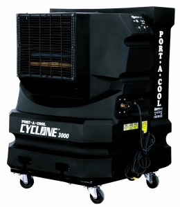Port-A-Cool PAC2KCYC01 Cyclone 3000 Portable Evaporative Cooling Unit with 700 Square Foot Cooling Capacity, Black